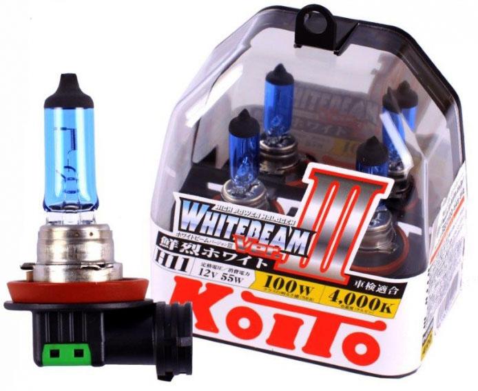 Лампа галогенная KOITO H11 Whitebeam 4000K 12V 55W, 2 шт, P0750W