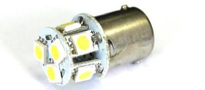 Лампа светодиодная 12v (5w) BA15s (1конт) 8 SMD диодов, белая