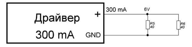 При подключении 2-х резисторов ток будет 300А, а напряжение 6В