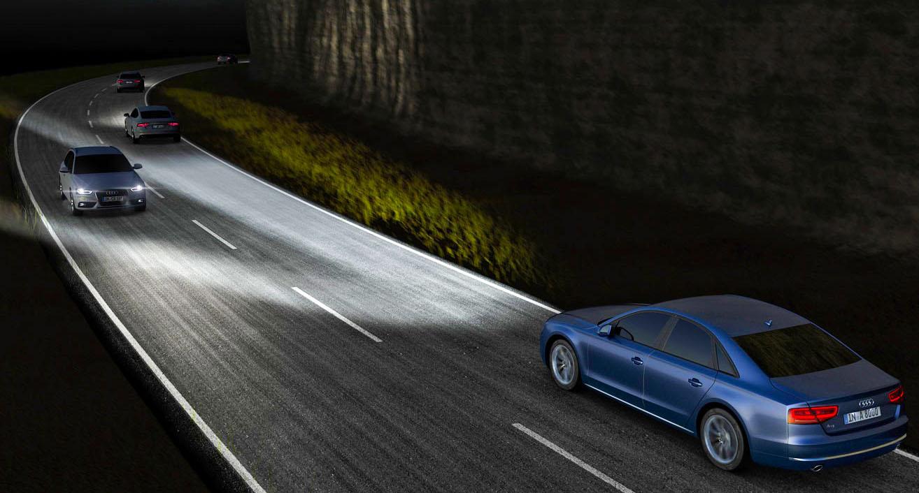 Пример освещения дороги светодиодными фарами