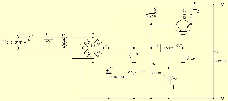 Регулируемый блок питания лабораторный на lm317 (схема)
