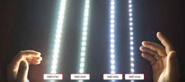 Сравнение интенсивности света разных светодиодов