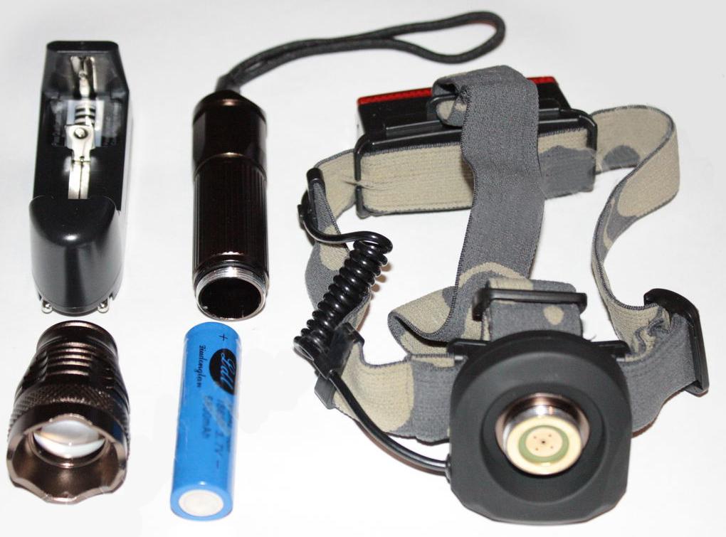 Светодиодный налобный и ручной аккумуляторный фонарь