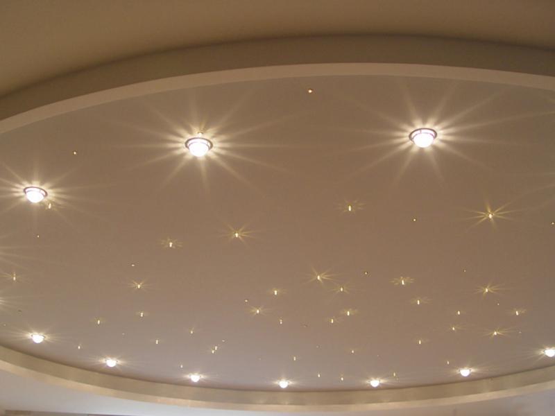 Точечные лампы на натяжном потолке